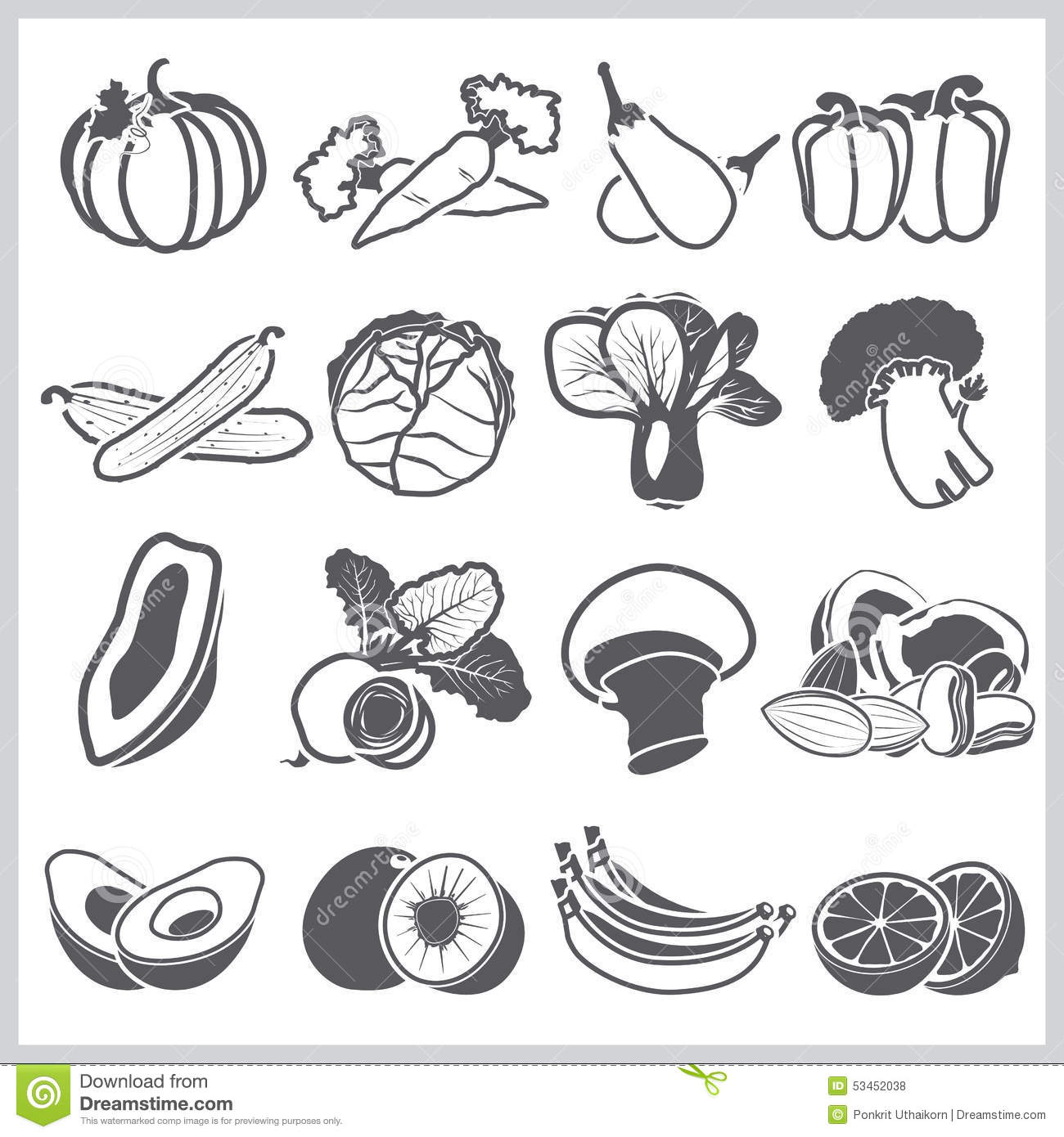 Ingre Nts Icons Set Vegetable And Fruit For Nutrition