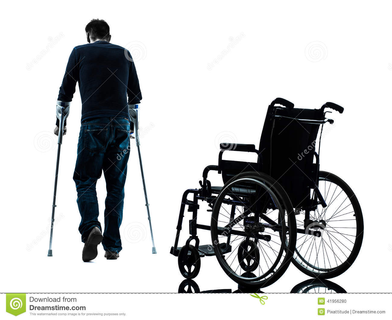 wheelchair man cane for chairs injured with crutches walking away from
