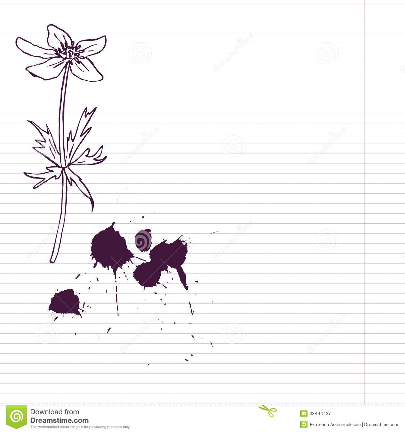 Ink Drawing Flower At Lined Paper Royalty Free Stock