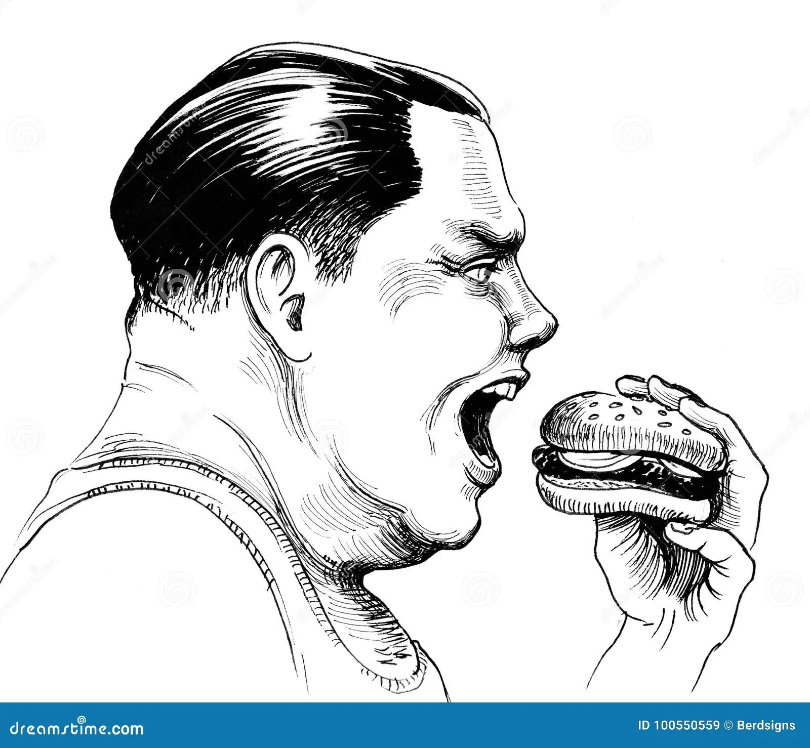 Fat Man Stock Illustration Illustration Of Eating