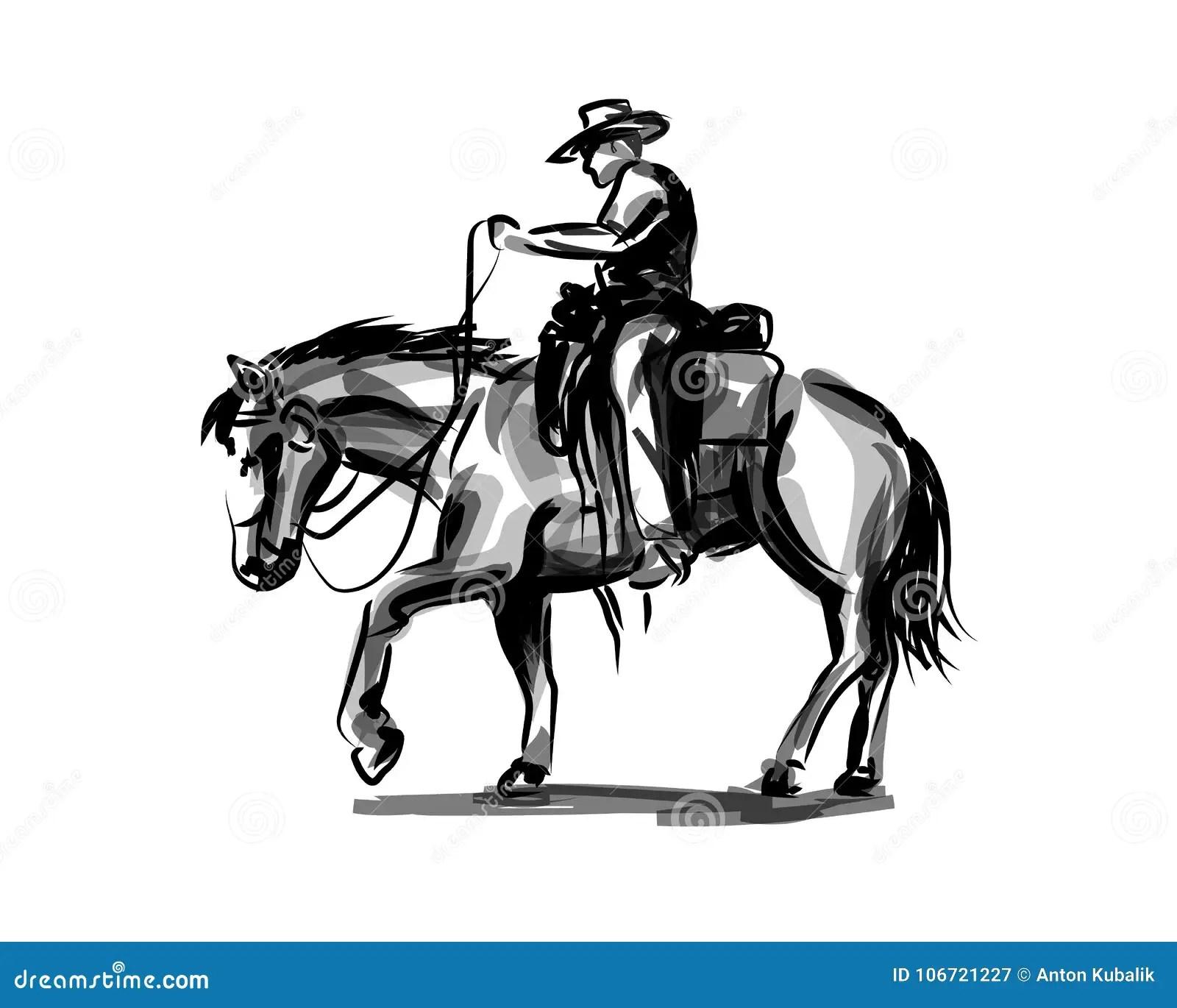 Vector Ink Sketch A Cowboy On A Horse Stock Vector