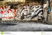 Inner-city Vandalized Walls With Spray Paint Art Stock ...