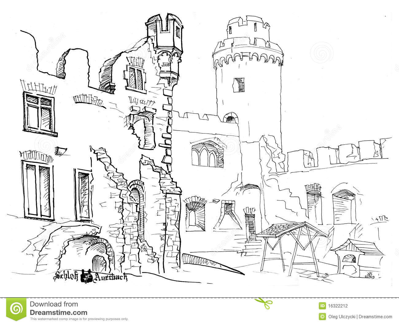 Courtyard Medieval Castle Hand Drawn Stock Illustration