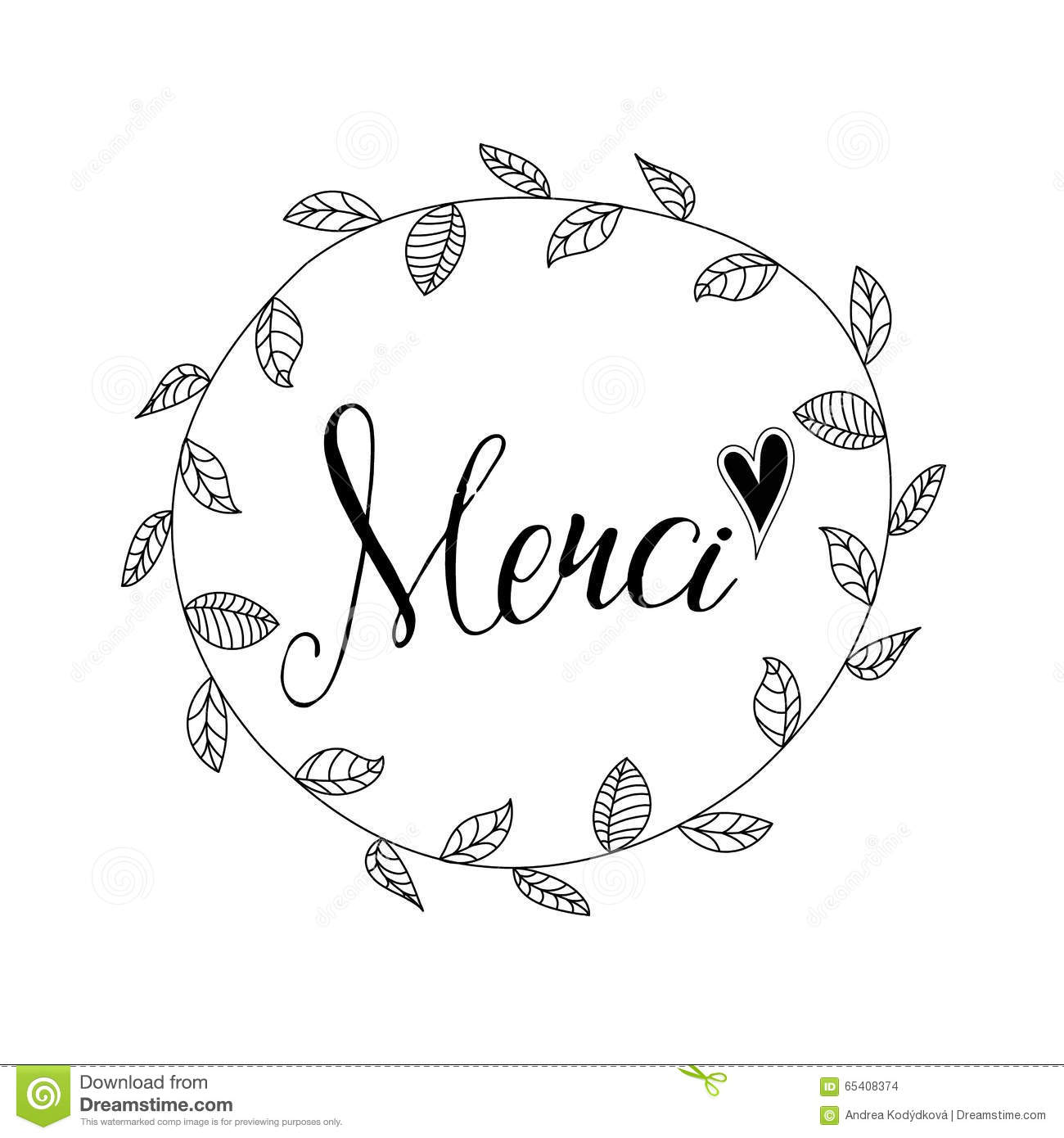 Inscription Merci With Hand Drawn Floral Wreath Stock