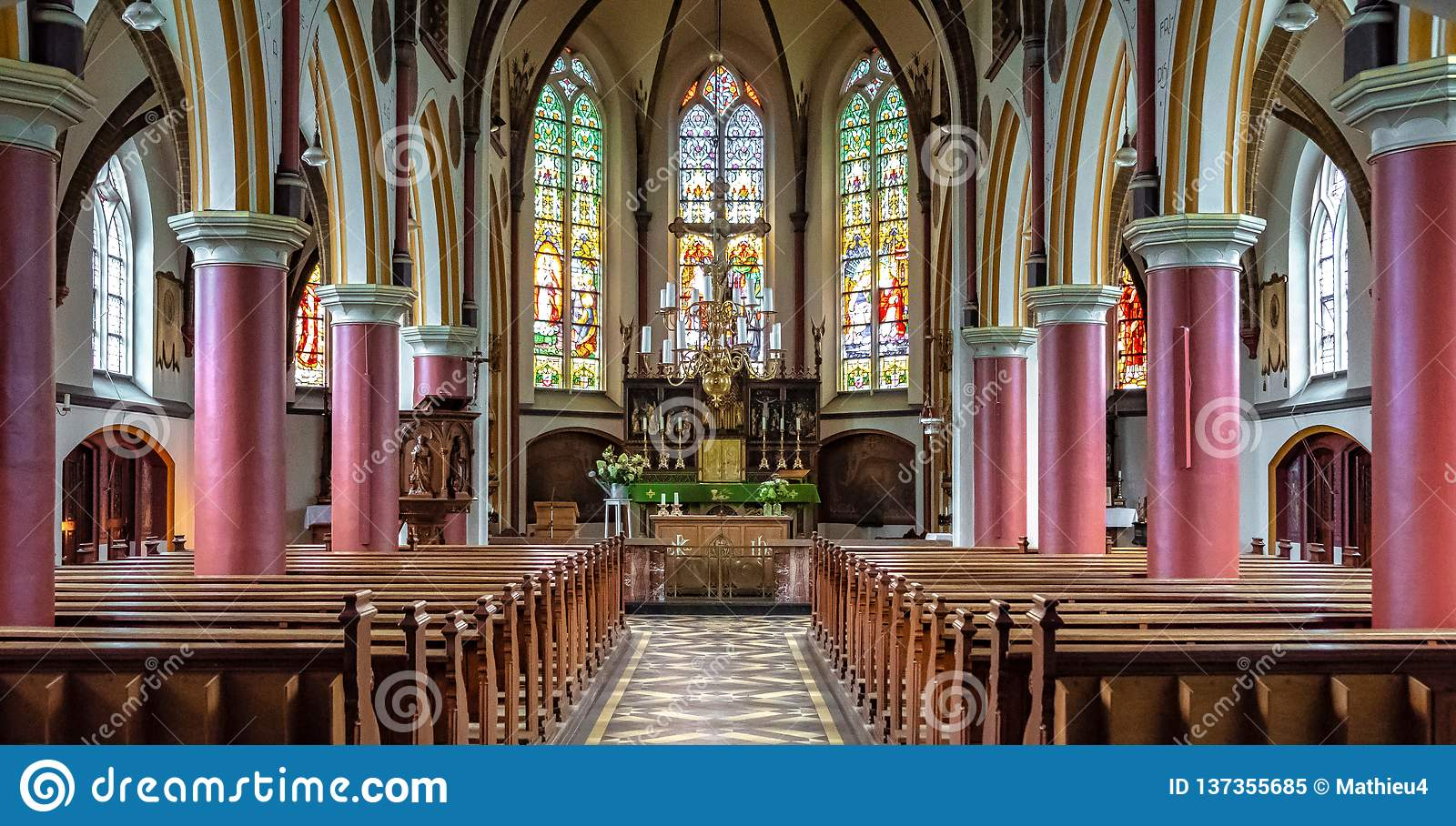 Inside A Cathedral Of Catholic Church Stock Image