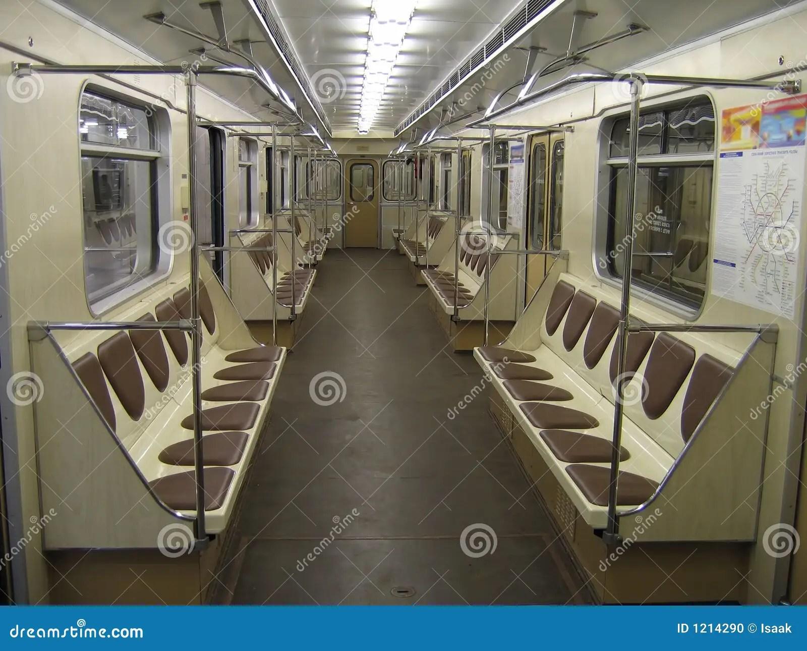 Inside Of Modern Subway Car Stock Photo  Image 1214290