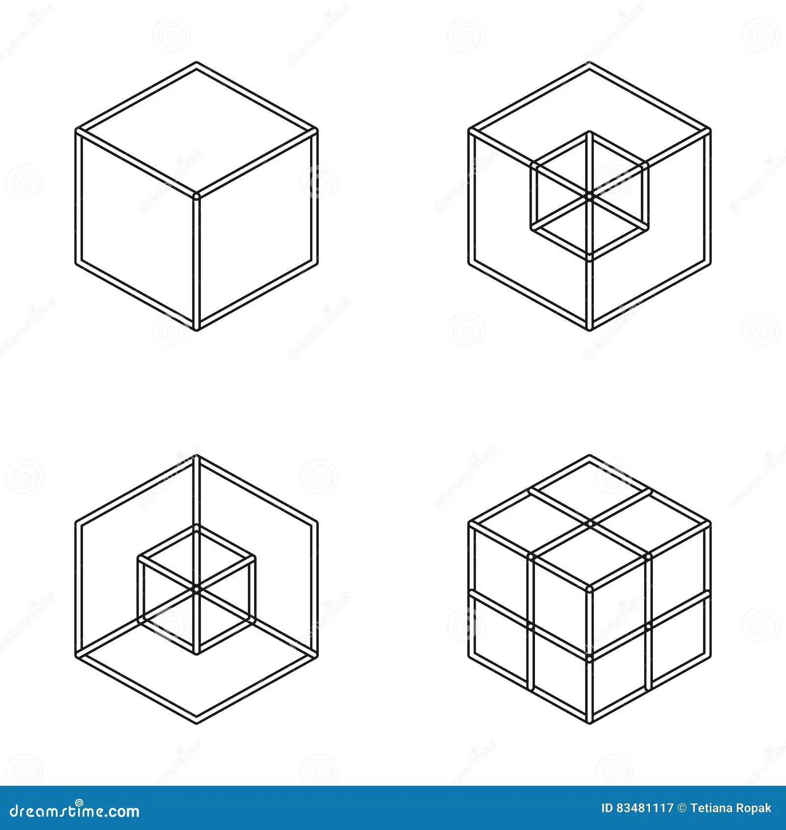 Insieme Del Cubo Geometrico Progettazione Grafica Di Modo