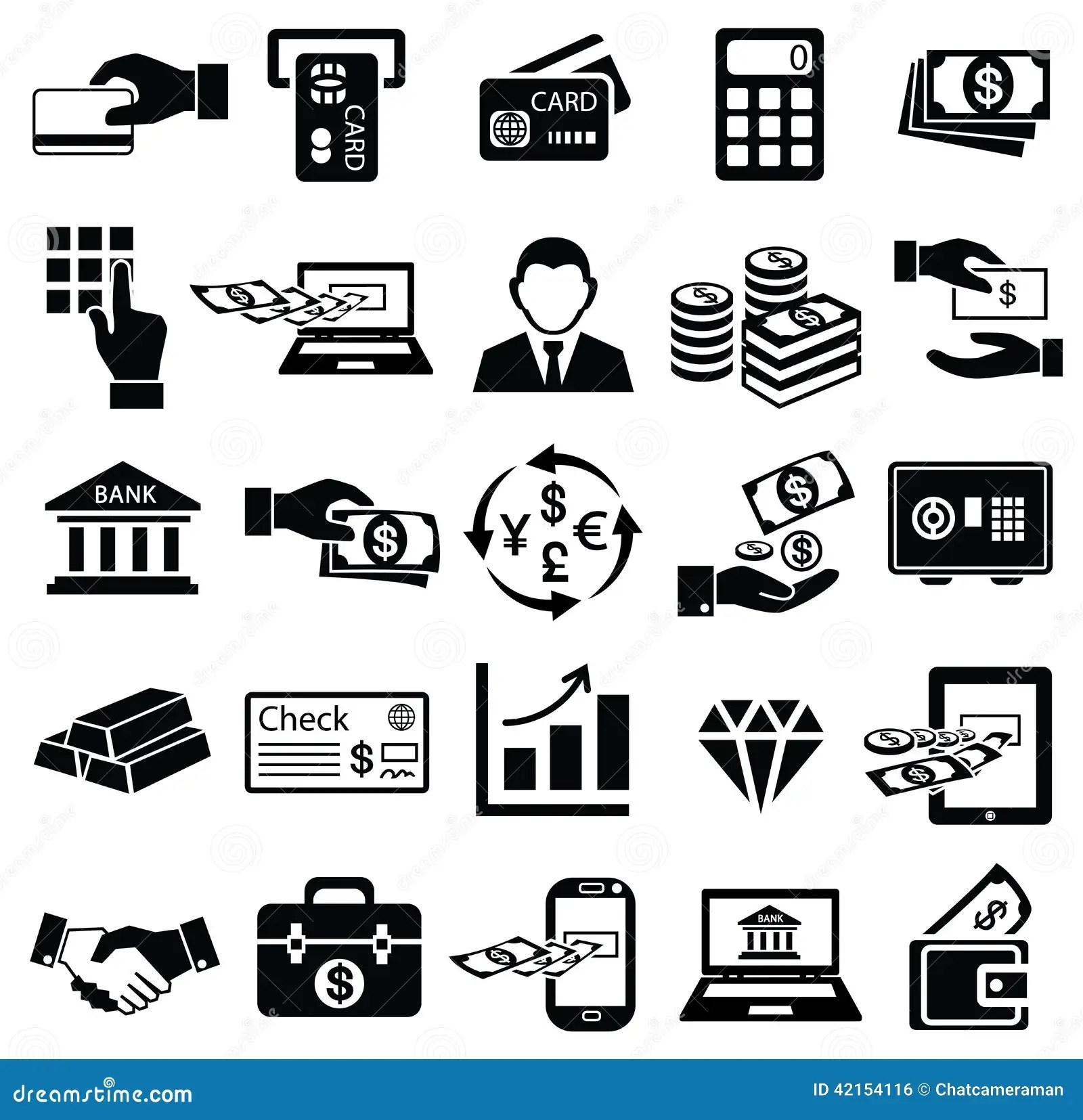 Insieme Dell Icona Dei Soldi Di Finanza Illustrazione