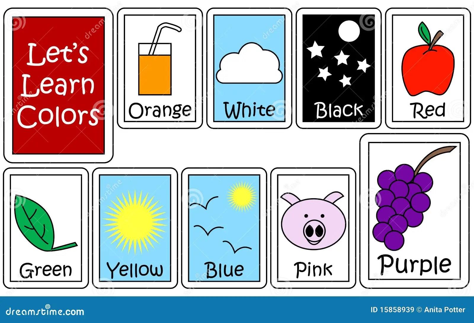 Insieme Di Colore Flashcards Illustrazione Vettoriale