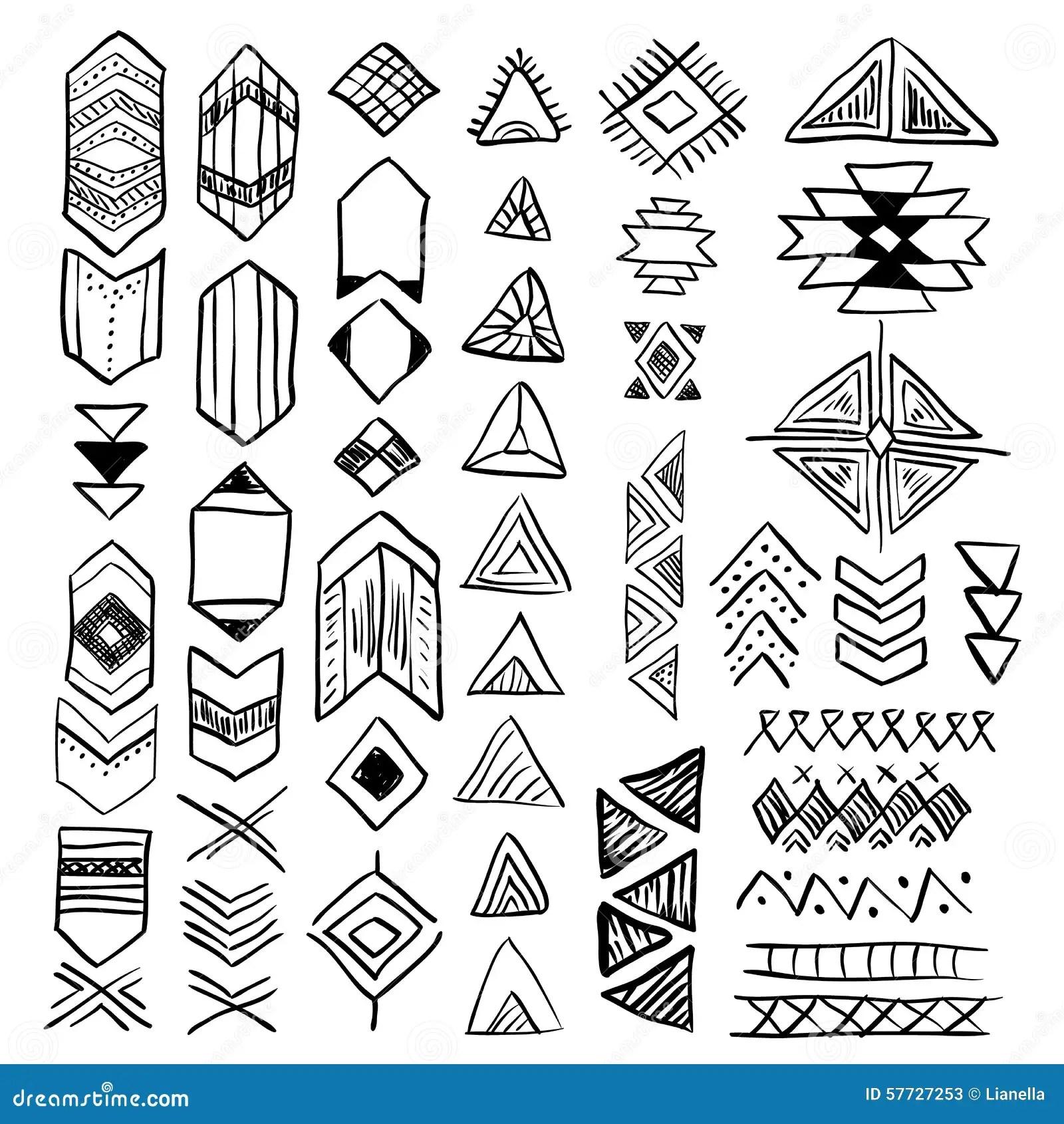 Insieme Di Simboli Disegnato A Mano Del Nativo Americano