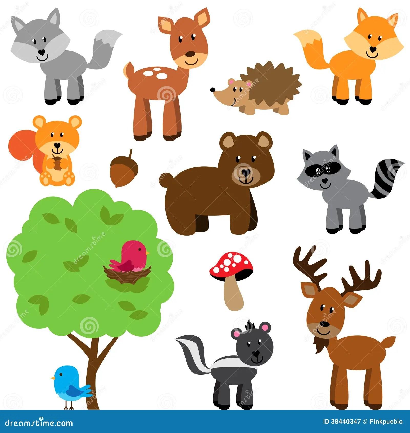 Insieme Di Vettore Del Terreno Boscoso E Di Forest Animals