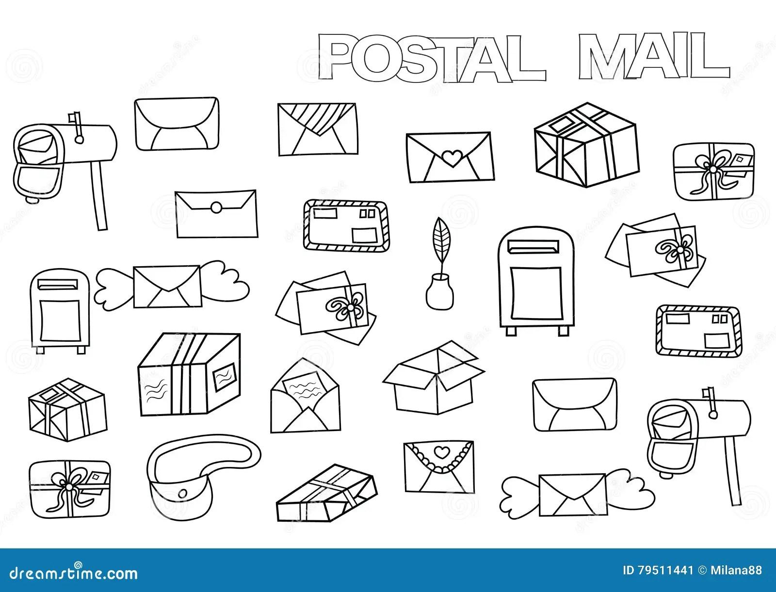 Insieme Postale Disegnato A Mano Modello Della Pagina Del