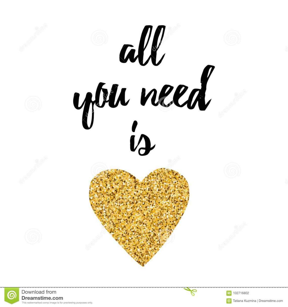 Download Inspirational Quote All You Need Is Love Decorated Golden ...