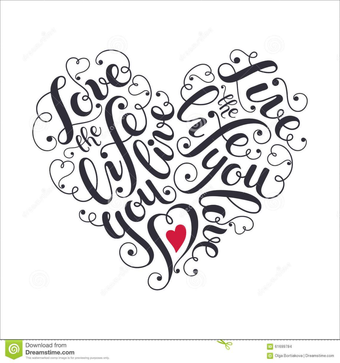 Download Inspiring Heart Shaped Poster Stock Vector - Image: 61699784