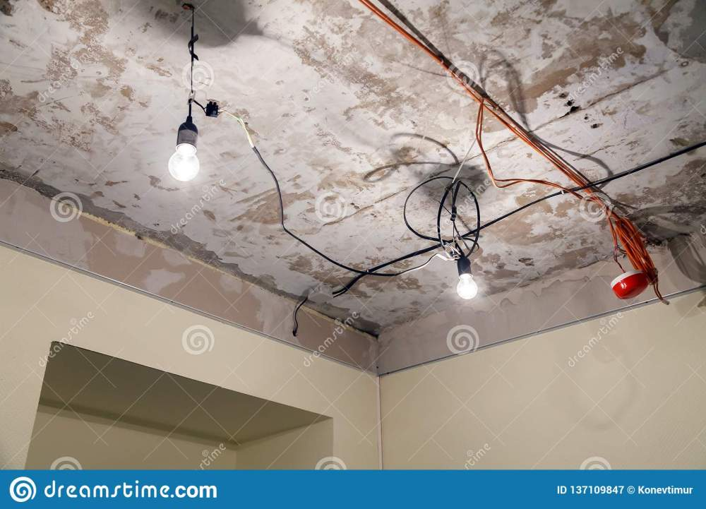 medium resolution of installation and repair of electric cable lamp bulb smoke detector fire alarm system before installing a stretch or suspended ceiling