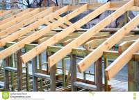 Installation Of Wooden Beams At Construction The Roof ...