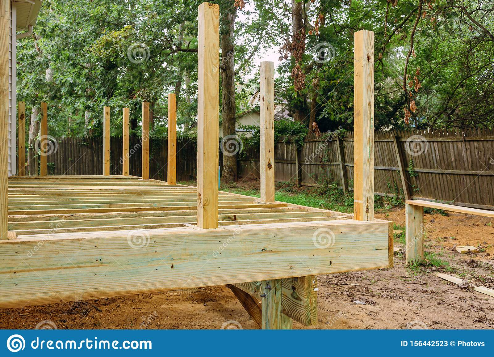 https www dreamstime com installing wood floor patio deck new wooden decking fragment planks installing wood floor patio deck new wooden image156442523