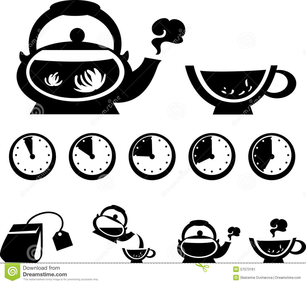 Instructions For Making Tea Vector Icons Stock Vector