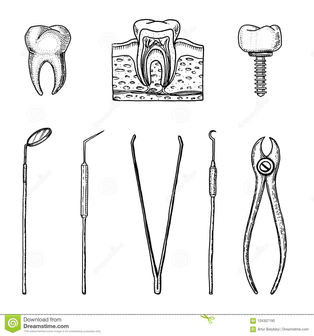 hight resolution of instruments equipment of the dentist for teeth enamel set doctor oral cavity clean or