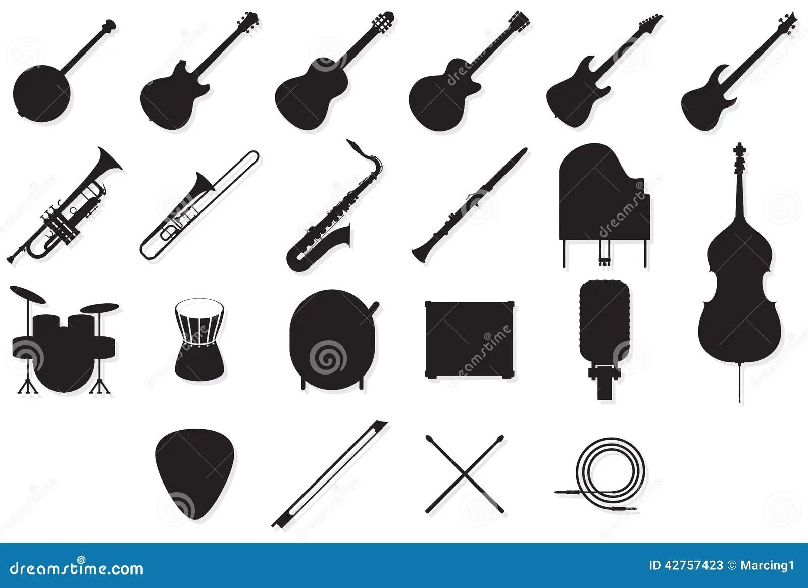 Instruments Outlines Set Stock Vector