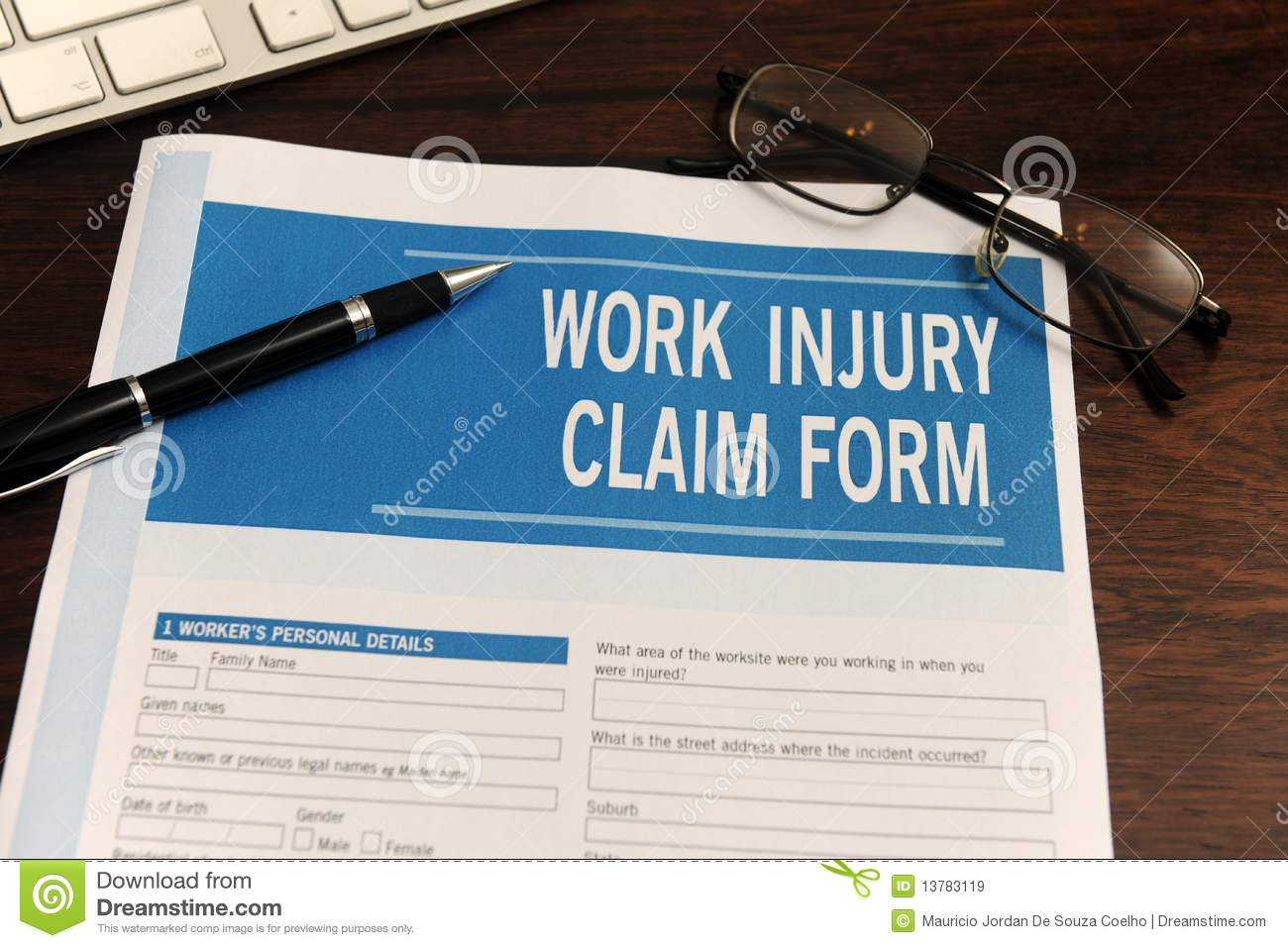 Insurance Blank Work Injury Claim Form Royalty Free Stock Images