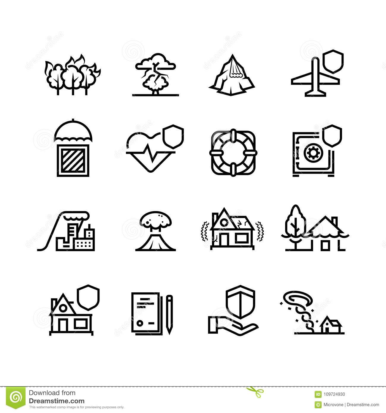 Insurance Cases And Natural Disasters Line Icons. Property
