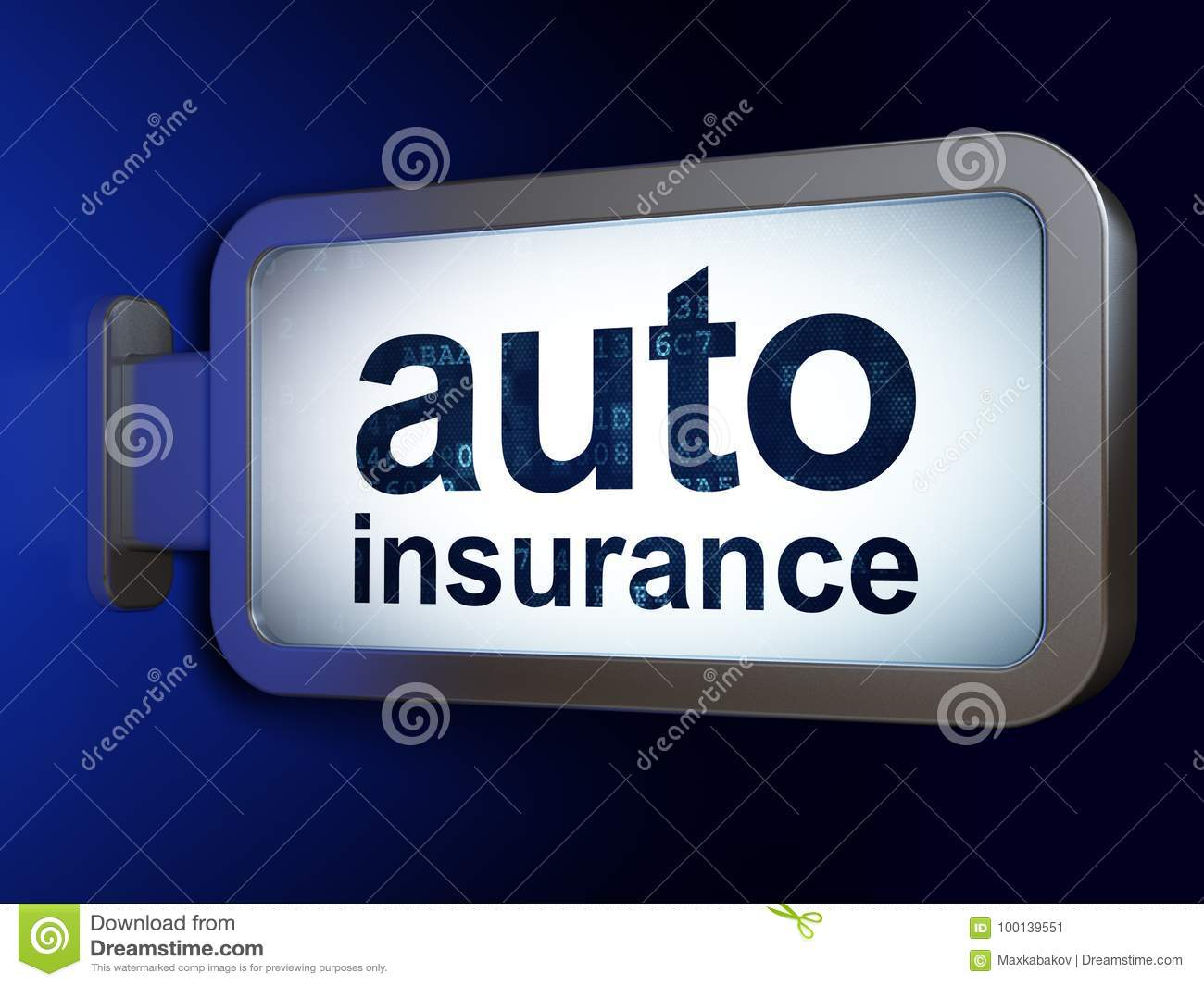 Insurance Concept Auto Insurance On Billboard Background Stock Illustration Illustration Of Phrase Frame 100139551