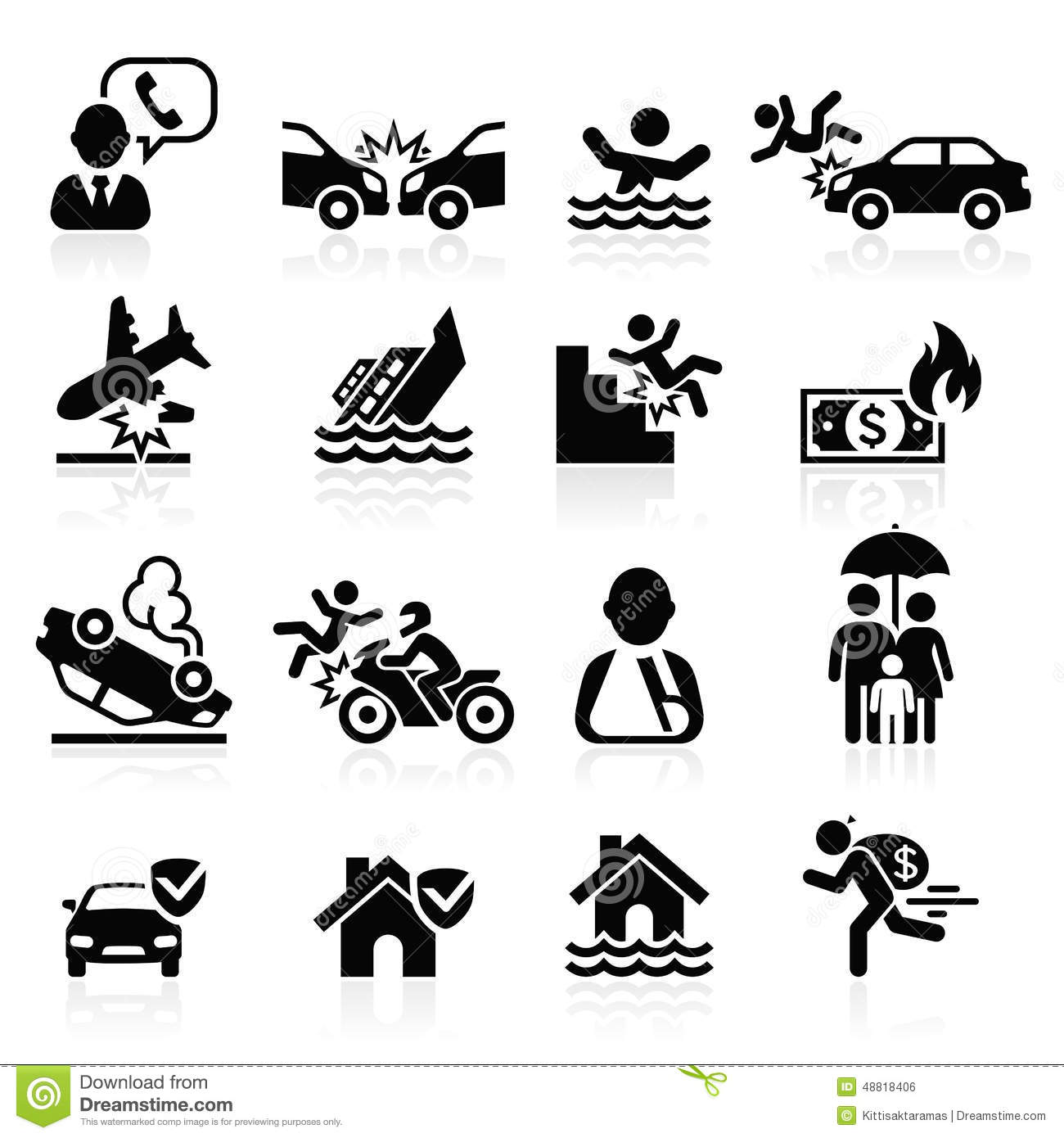 Insurance Icons Set Stock Vector