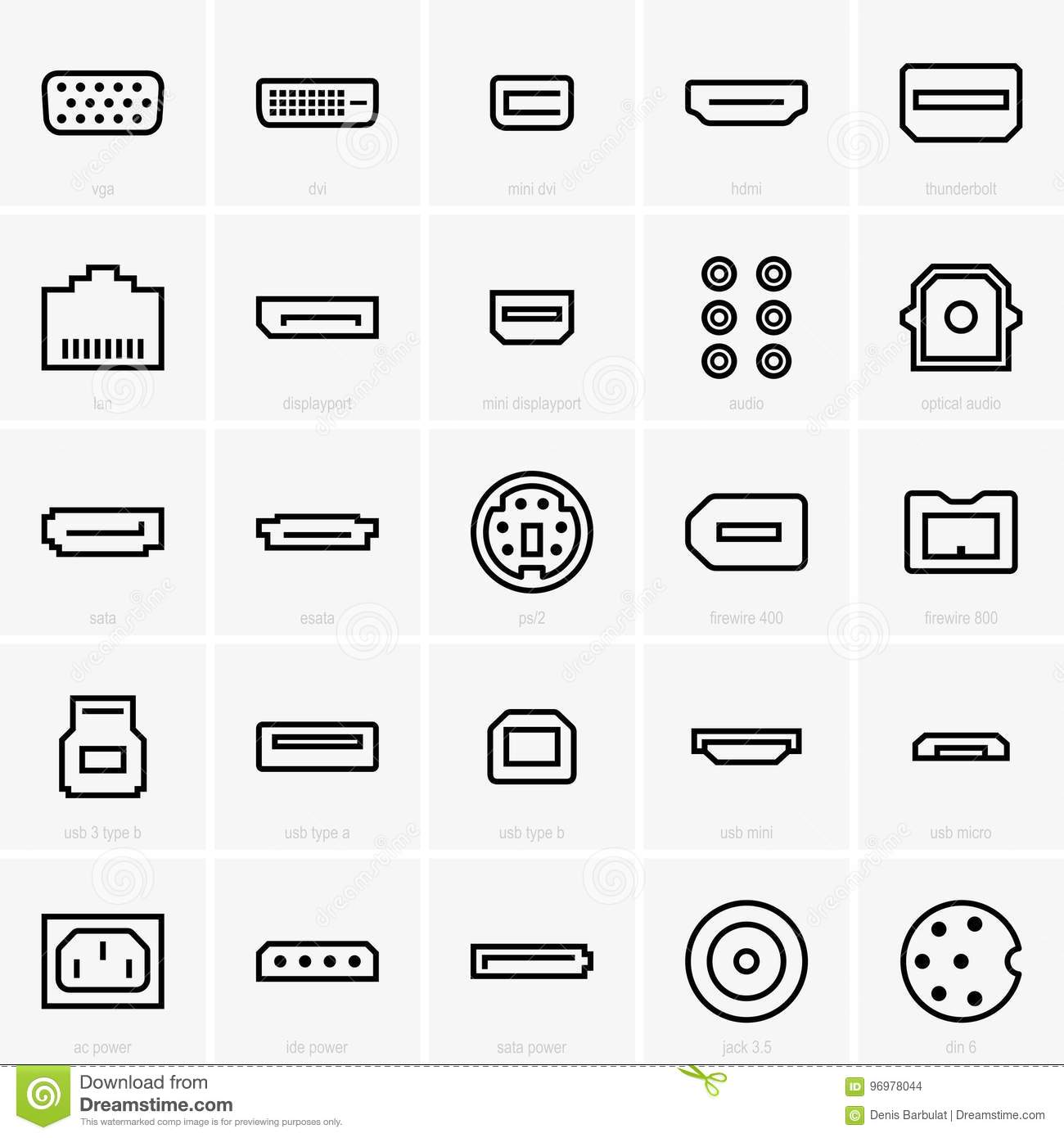 Interface icons stock vector. Illustration of esata, power