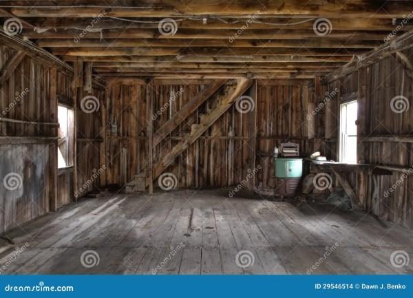 Interior Of Abandoned Barn Stock Building
