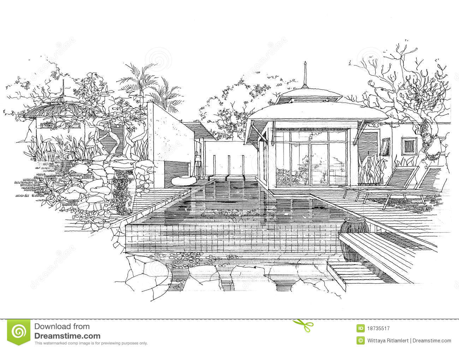 Interior Architecture Construction Landscape Sketc Royalty