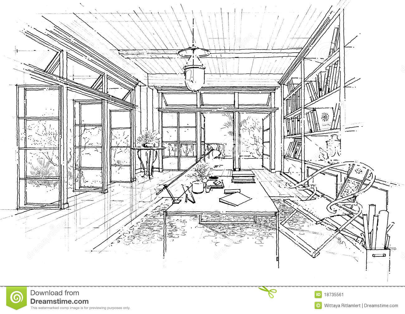Interior Architecture Construction Landscape Sketc Stock