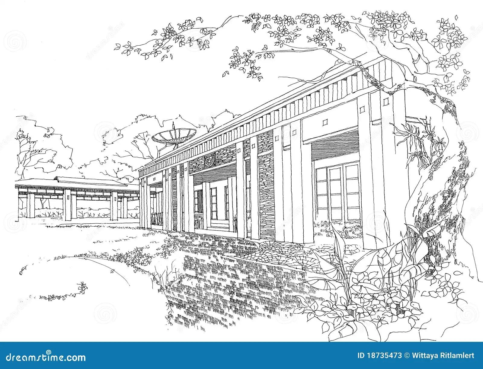 Interior Architecture Construction Landscape Sketch Stock