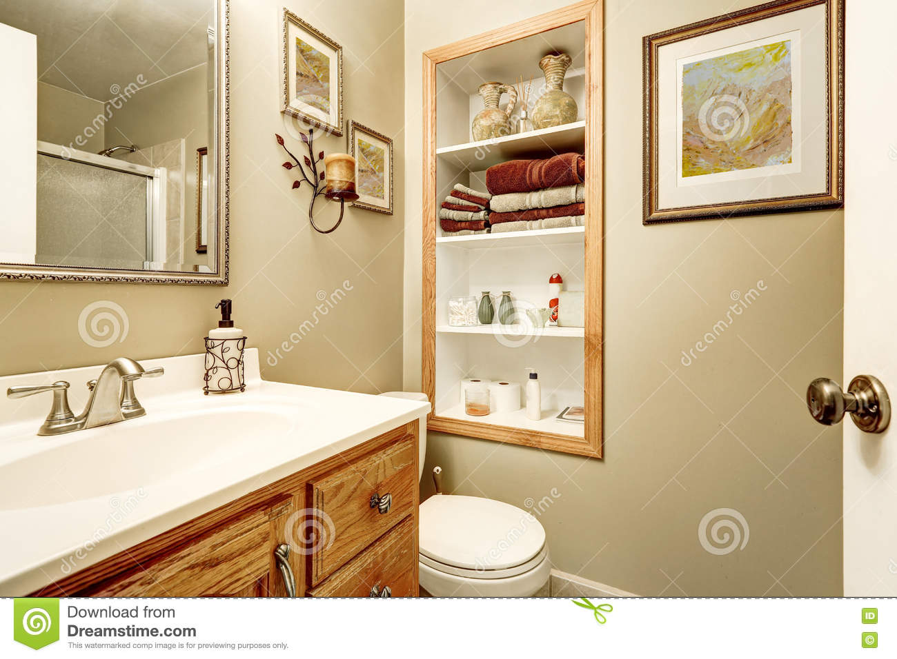 Built In Bathroom Shelves Interior Of Bathroom With Built In Shelves Stock Photo Image Of