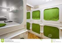 Interior Of Capsule Hotel Editorial Stock