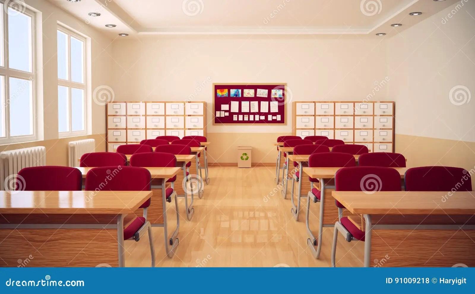 The Interior Of Classroom Stock Illustration