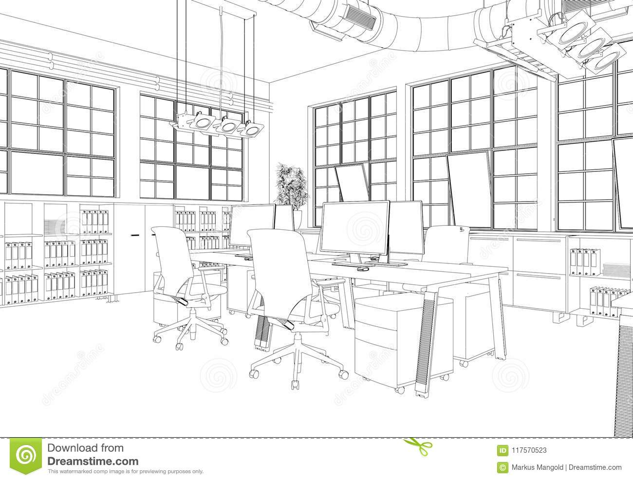 Interior Design Big Office Room With Desks Custom Drawing