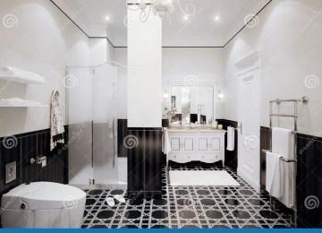 Piastrelle esagonali bianche e nere interior design classico del