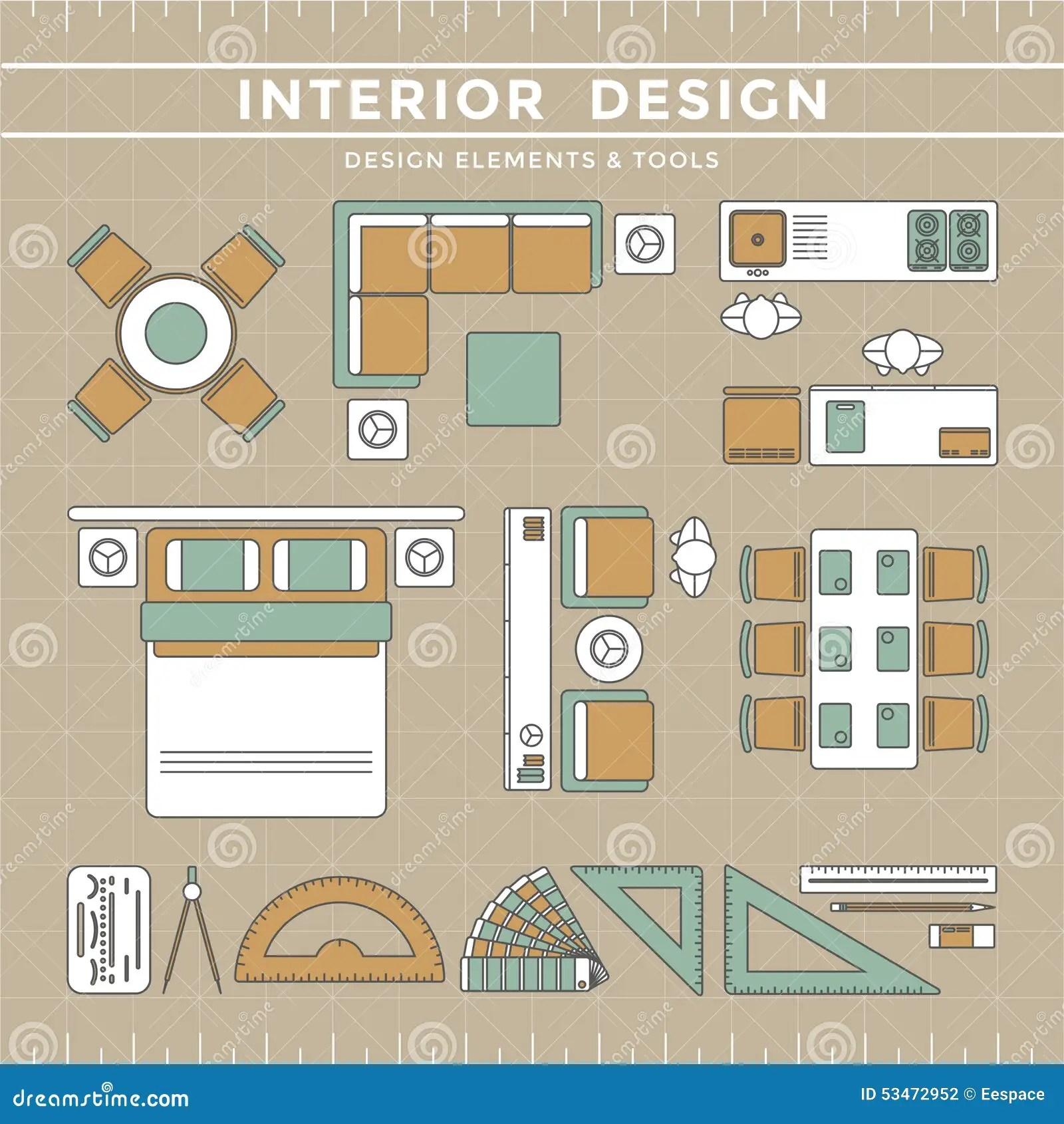 Interior Design Layout & Tools Stock Vector Illustration Of Indoor