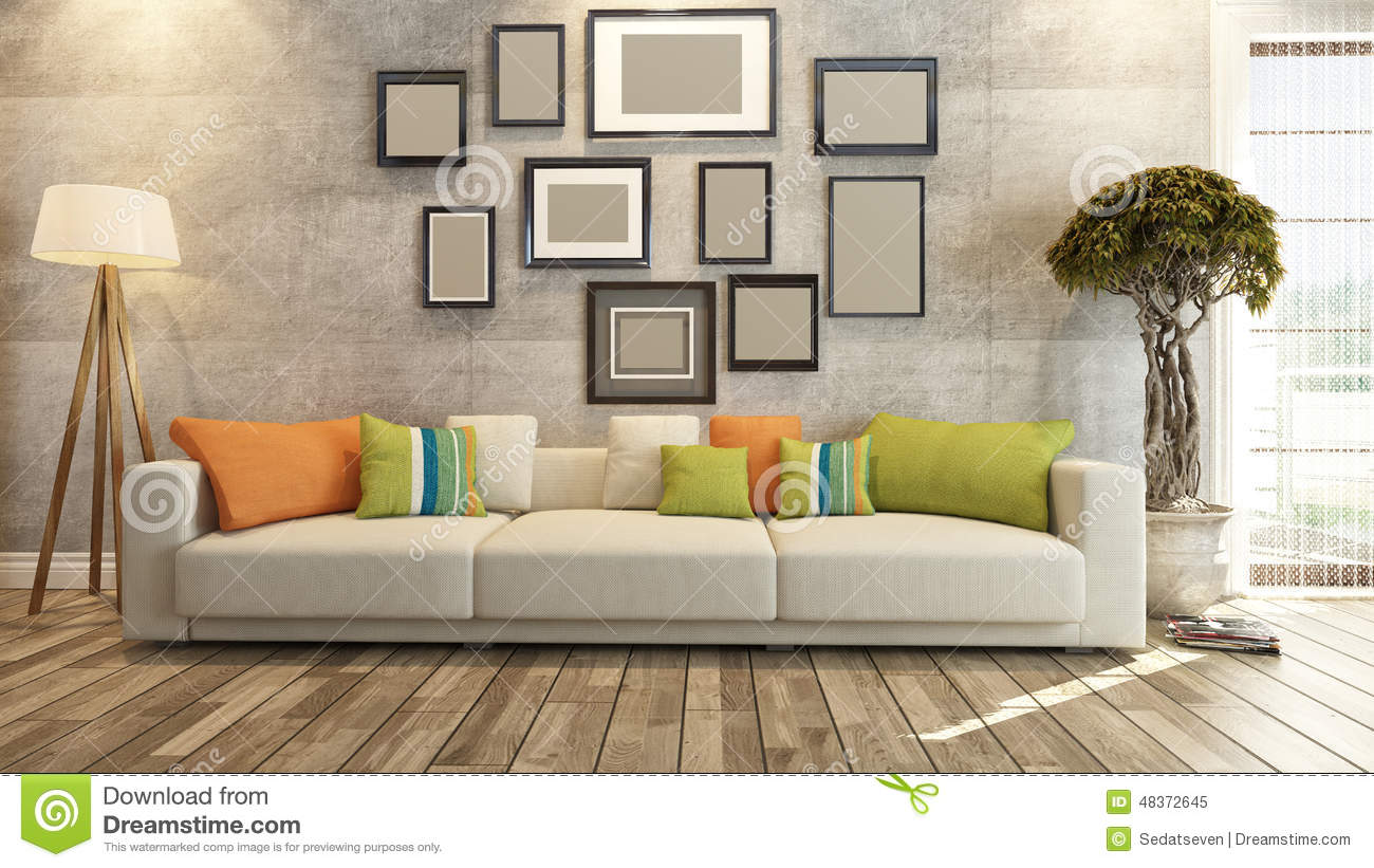 wall frames for living room casual furniture ideas interior design with on concrete 3d rendering stock or saloon
