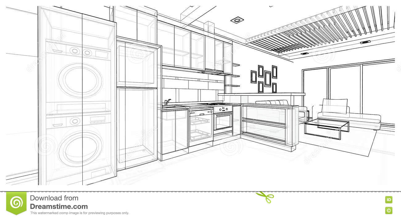 Interior design : kitchen stock illustration. Illustration