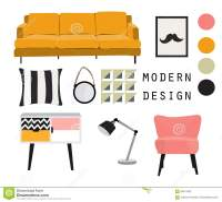 Interior Design. Mid Century Modern Furniture. Vector ...