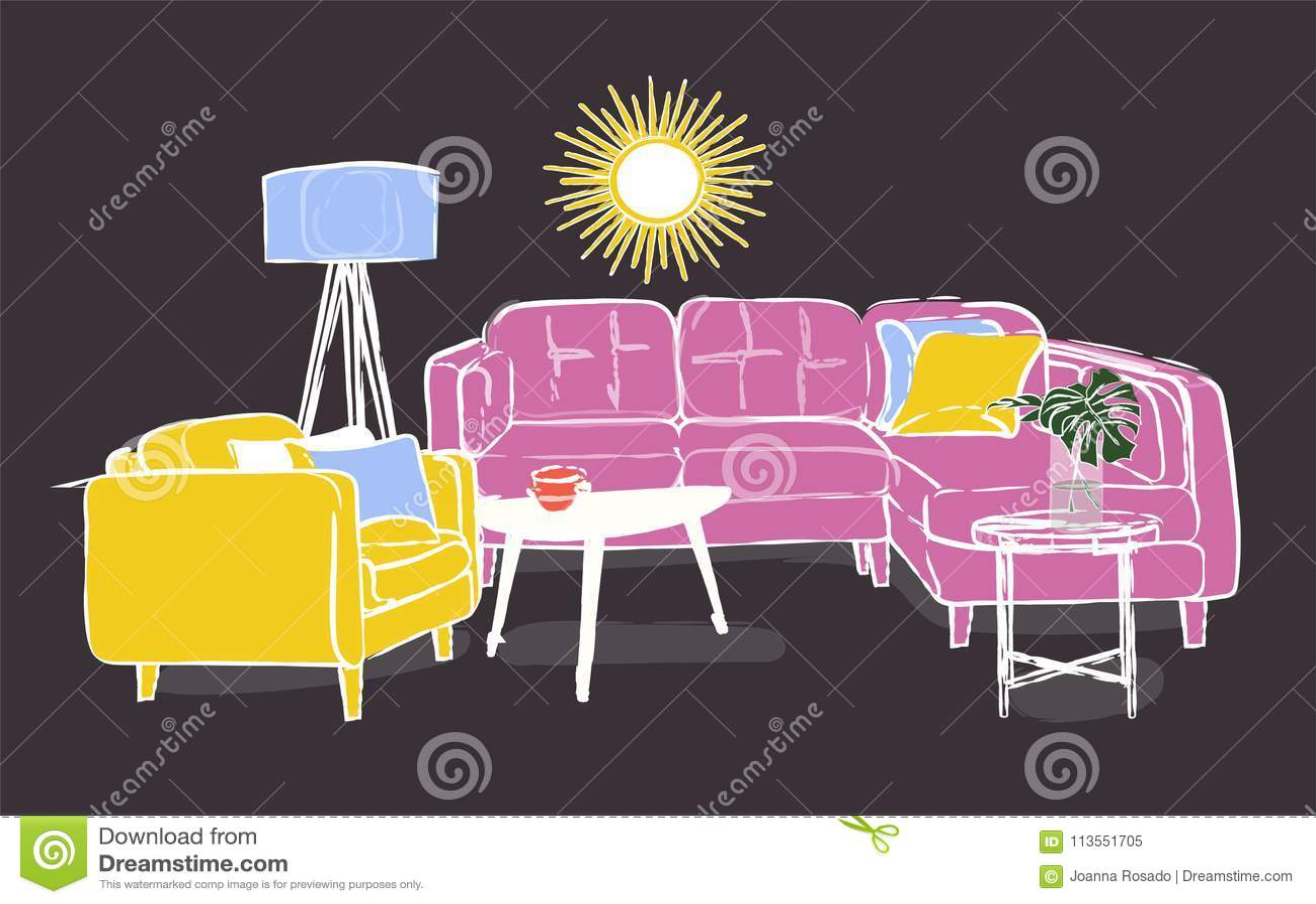 Interior Design Vector Illustration Furniture Art Drawing