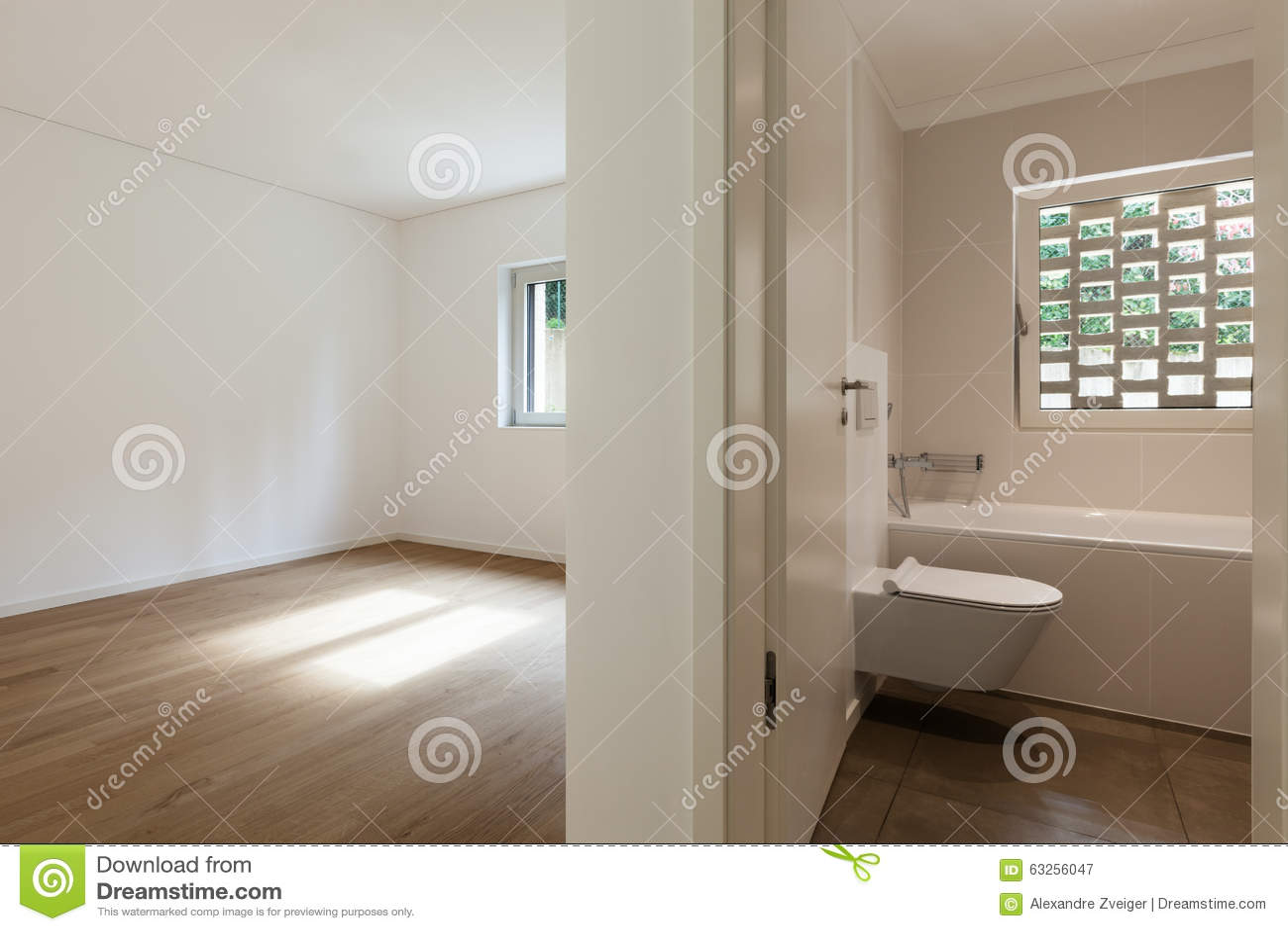 Interior Empty Room With Bathroom Stock Image  Image of domestic parquet 63256047