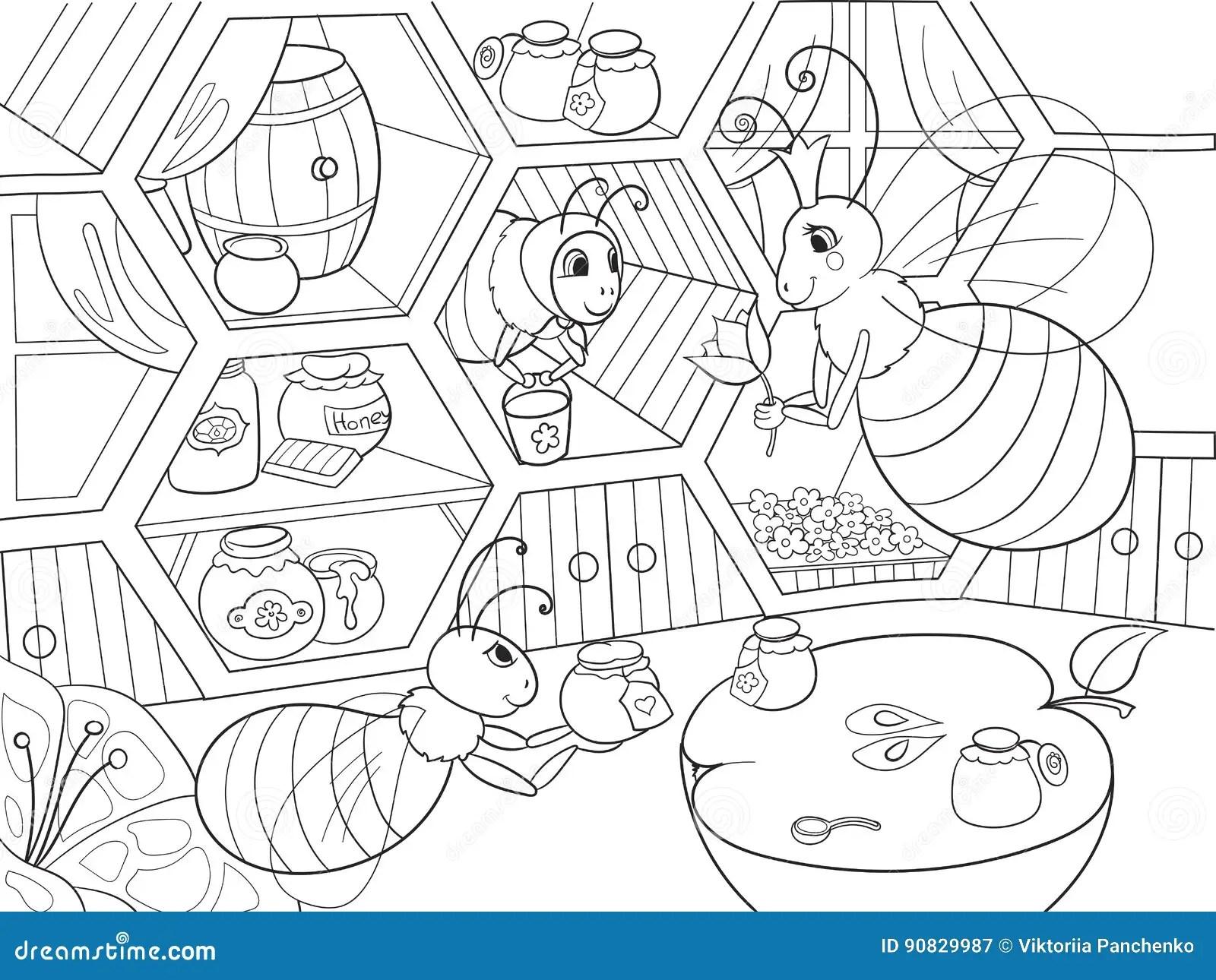 Honey Bee Insect Cartoon Illustration Vector Illustration