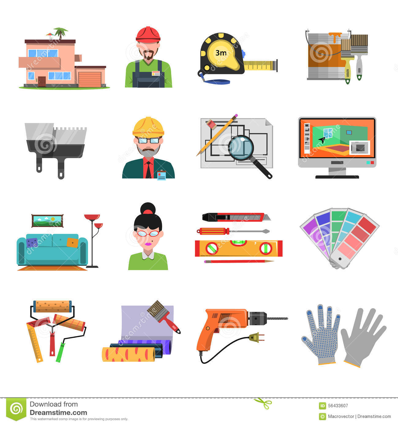 Interior Flat Icons Stock Vector Illustration Of Building