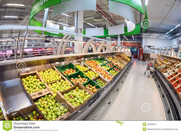 Interior Of Hypermarket Karusel Editorial