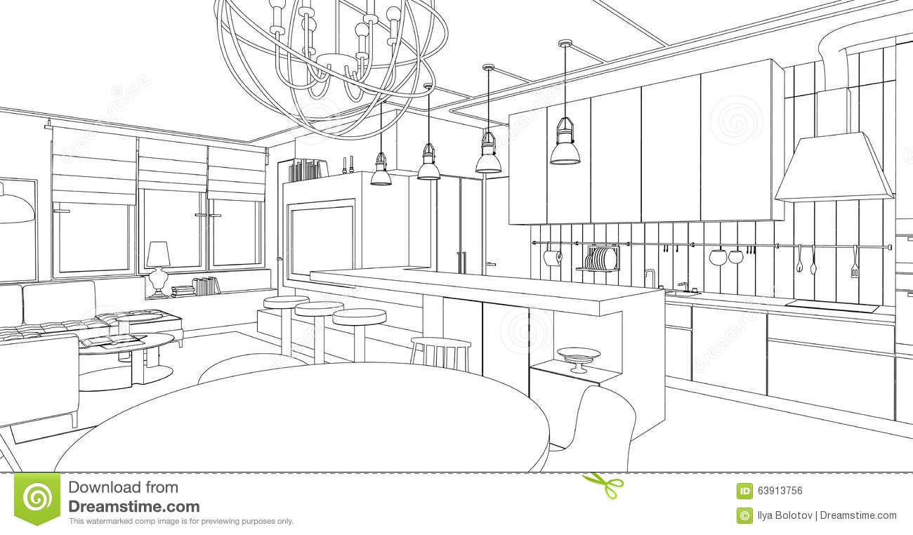 Interior Line Drawing. Stock Vector
