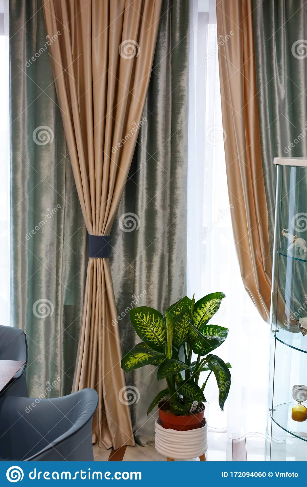 The Interior Of The Living Room Beautiful Curtains And Drapes On The Window Stock Photo Image Of Open Luxury 172094060