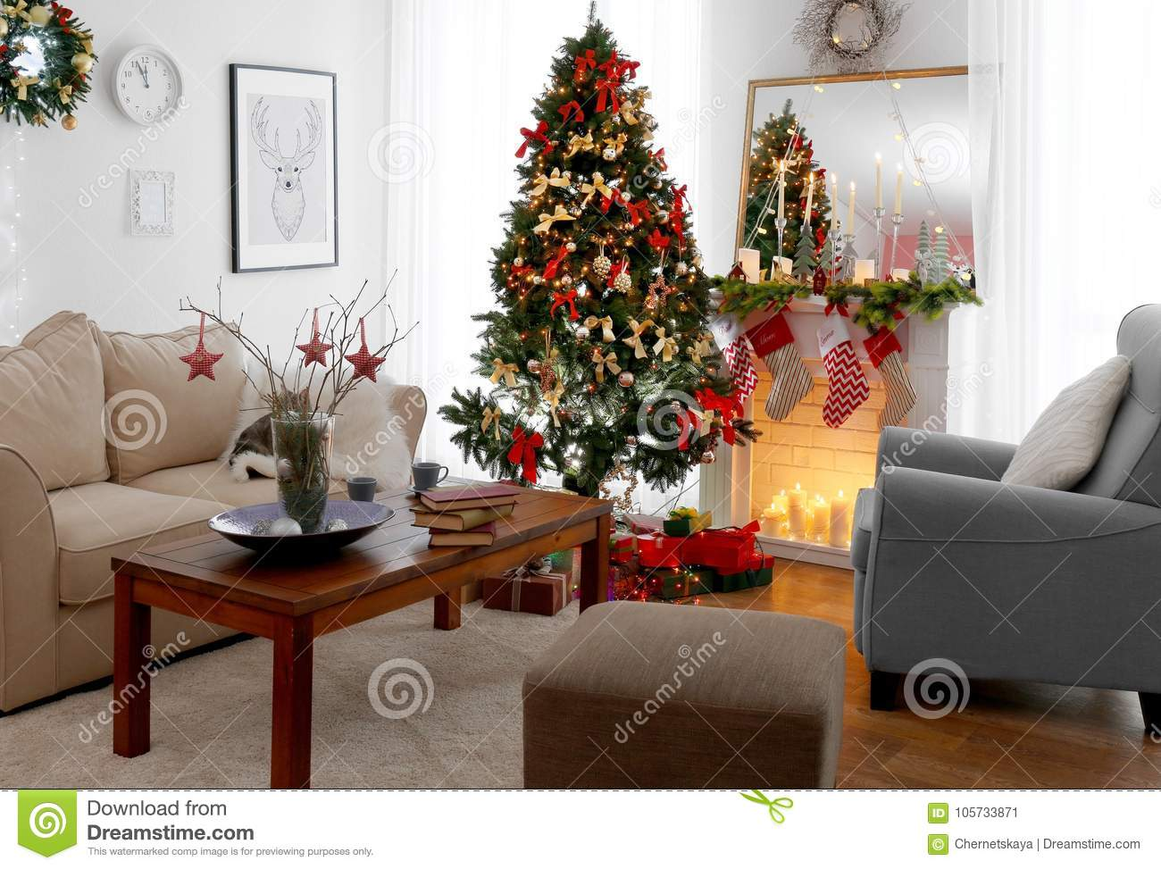 beautiful living rooms at christmas sofa set room interior of decorated for stock image